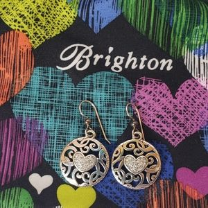 Brighton Crystals Center Heart Earrings